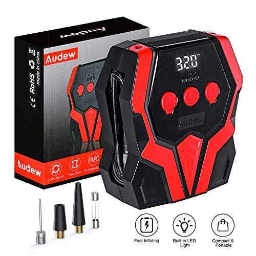 Audew Air Compressor Tire Inflator - 12V DC Portable Wheel Air Pump for Car Tires - Digital Tire Air Pump with LED Lights Auto Shut Off, for Car, SUV, Pickup, Motorcycle, Sports Balls