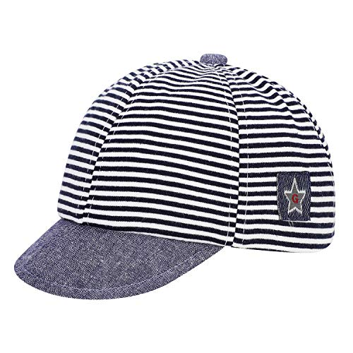 Berretto da baseball per bambini, cappello da sole, in puro cotone, a righe, regolabile, con visiera parasole, con ricamo a stella, per bambini da 3 a 12 mesi blu navy Taglia unica