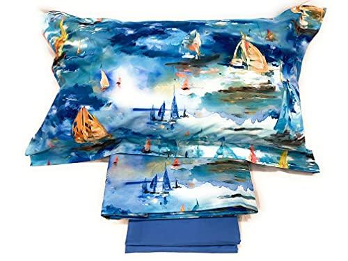 Mirabello Bettwäsche-Set für französisches Bett, aus feinem Perkal-Baumwolle, Tagesdecke mit doppeltem Rüschen, Art. Barcolana