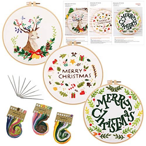 Christmas Embroidery Kits, Christmas Embroidery Kit for Beginners with Merry Christmas Deer Patterns and Instructions, Full Range of Stamped, 3 Pack