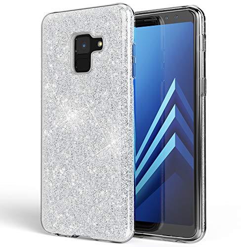 NALIA Hülle kompatibel mit Samsung Galaxy A8 (2018) Glitzer Handyhülle Ultra-Slim Silikon Hülle Back-Cover Schutzhülle, Glitter Handy-Tasche Bumper, Dünnes Bling Phone Etui, Farbe:Silber