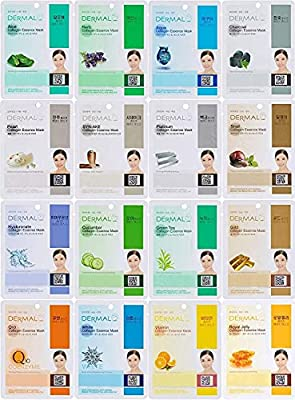 DERMAL 16 Combo Pack Collagen Essence Facial Mask Sheet - The Ultimate Supreme Collection for Every Skin Condition Day to Day Skin Concerns. Nature Made Freshly Packed Korean Face Mask from Dermalkorea Inc