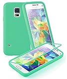 Cadorabo ! TPU Silikon Schutzhülle (Full Body Rundumschutz auch für das Display) für Samsung Galaxy S5 MINI (G800F) in MEER-GRÜN