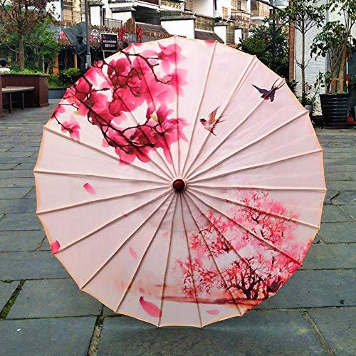 Yukie - Ombrello da pioggia da donna cinese fengshui, in seta giapponese, poney decorativo, in bambù, con olio di carta, A8 reseda