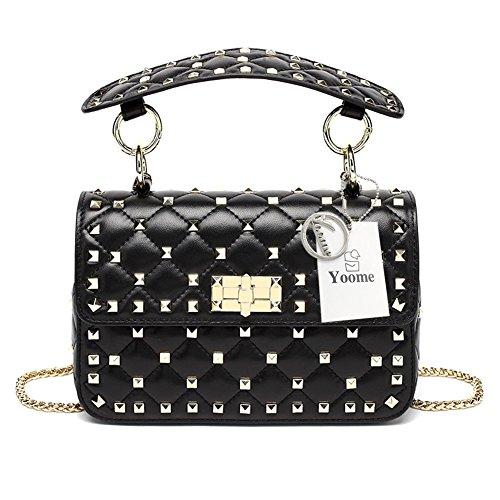 Yoome in Vera Pelle Trapuntata Catena Tracolla Borsa Mini Pochette con Strass Rivetti Top Handle Handbags
