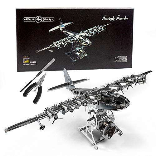 Model Airplane Kit with Tool kit- DIY Scale Model - 3D Model kit Heavenly Hercules - Moving Wind-Up Airplane Model | 3D Puzzle for Adults - Metal DIY Kit | Metal Model Collectible | DIY Construction