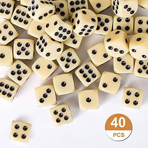 GWHOLE 40 Piezas Dados Estándar de Plástico, Dados Blanco