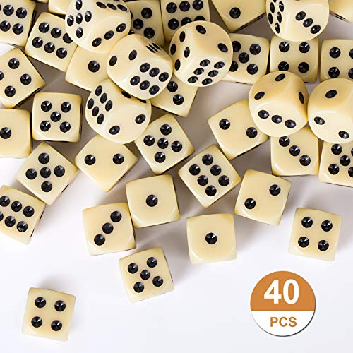 GWHOLE 40 Piezas Dados Estándar de Plástico, Dados Blanco (6 Caras, 16mm) para Juegos de Dados, Tenzi, Farkle, Yahtzee, Bunco o Enseñanza de Matemática, Casino, Regalos, Party Favor -Blanco