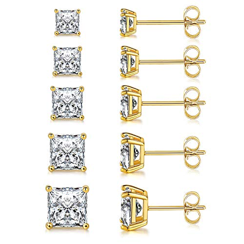 MDFUN 18K Yellow Gold Plated Princess Cut Clear Cubic Zirconia Stud Earring Pack of 5 Pairs