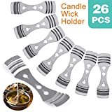 26pcs Metal Candle Wick Centering Device Pack of Stainless Steel Candle Core Holder for Candle DIY Making (Wick Centering Device, Silver)