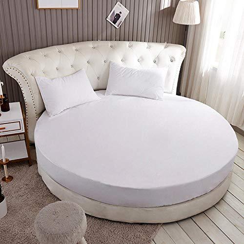 HPPSLT Protector de colchón, con Aloe Vera, (Todas Las Medidas) Cama Redonda de algodón para Hotel-Blanco Puro_2.2m