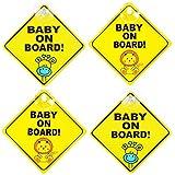 Pegatinas Bebe para el Coche, Pegatina Baby on Board, Resistente al Calor Sin Desvanecimiento(4 piezas, amarillo)