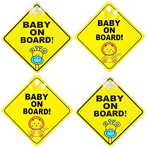 Baby an Board Aufkleber Mit Saugnapf Kind Auto Aufkleber Hitzebeständig, Kein Ausbleichen,4 Stück,Kuh- und Löwenstil
