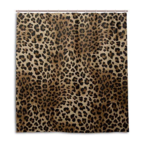 CPYang Duschvorhänge Tier Leopard Druck Wasserdicht Schimmelresistent Bad Vorhang Badezimmer Home Decor 168 x 182 cm mit 12 Haken
