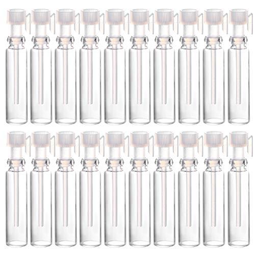 Lurrose 50 botellas vacías de 1 ml para muestras de perfume, mini botellas de cristal con gotas, para viajes, aceites esenciales, aromaterapia, contenedores rellenables