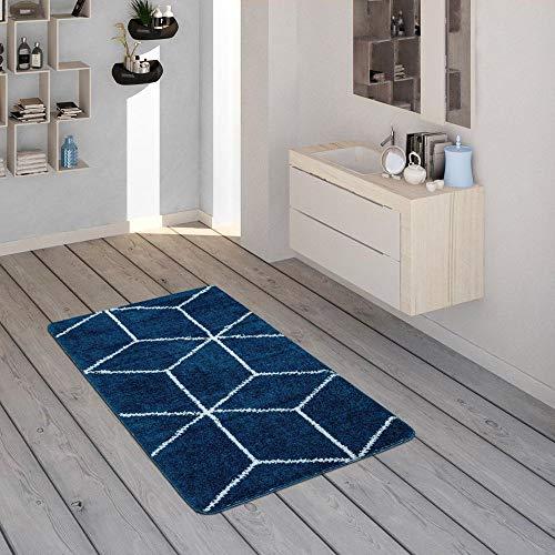 Alfombrilla De Baño, Alfombra De Pelo Corto para Baño con Motivo De Rombos Azul Y Blanco, tamaño:50x80 cm