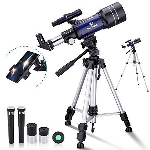 Astronómico Telescopio para Niños y Principiante, 300/70 Refractor Telescopio con Trípode Adaptador para Teléfono Ffiltro Lunar