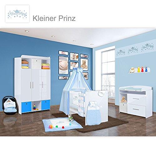 Babyzimmer Mexx in Weiss Hochglanz 22 tlg. mit 3 türigem Kl. + Kleiner Prinz Blau
