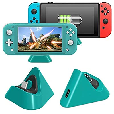FASTSNAIL Charger Dock for Nintendo Switch/Switch Lite, Portable Mini Charging Stand Charge Docking Station for Switch/Switch Lite 2019 Triangle Holder (Green)