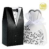 Foonii 100 Stück Süßigkeiten Schachtel Hochzeitskasten Bonbons Schachtel für Hochzeit, (50 Paar) Hochzeit Brautkleid Entwurf Brautpaar Gastgeschenk - 8