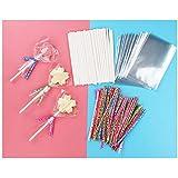 Bolsas de Celofan Transparente 7 x 10 cm Palillos de Papel con 100 Lazos para Regalo Bolsa Bolsitas Plastico Pequeñas Lollipop Sticks para Piruletas Caramelos Galletas y Chocolate 300 Piezas