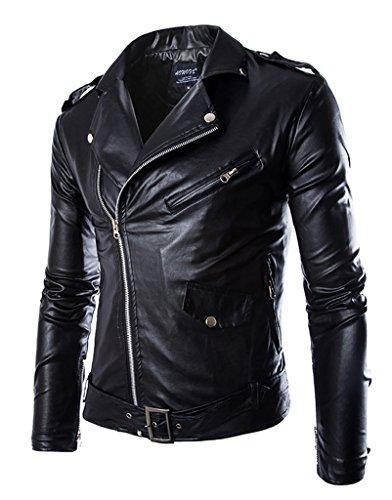 Jaqueta masculina de couro sintético com zíper WSLCN, Preto, S