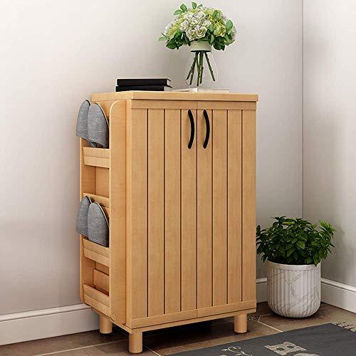 Xiejia Eenvoudige multifunctionele houten kast multi-layer open deur grote capaciteit opbergkast veranda (kleur: Hout kleur, grootte: 58 * 35 * 98.9cm)