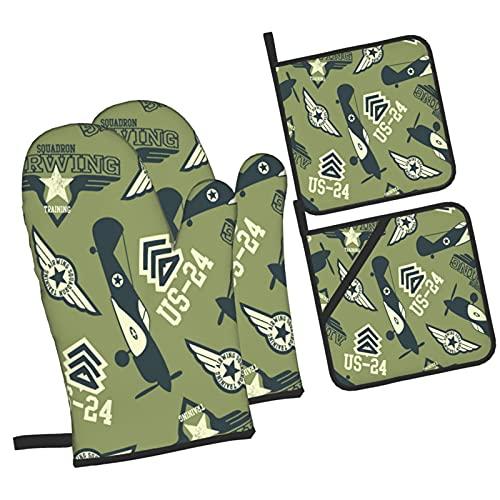 Escuadrón aéreo de la Segunda Guerra Mundial en Verde,Juegos de Manoplas para Horno y Porta Ollas,4Pcs Impermeable Guantes Almohadillas para Cocina Cocinar Hornear Barbacoa