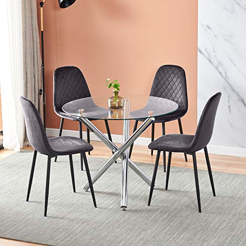 5 Pieces Round Clear Glass Dining Table with Chairs Set of 4 Grey Velvet Chairs Set for Small Space, Modern Kitchen Dinette Table with Chairs Set of 4 for Restaurant Party Office Conversational