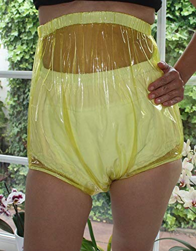 Top PVC Adult Baby Inkontinenz Windelhose Gummihose gelb glasklar transparent (XL)