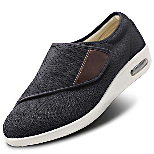 Womens Stylish Diabetic Shoes Extra Wide Widths Walking Edema Sneakers Adjustable Strap Easy On/Off with 3 Pairs Insoles Replacement for Support Swollen Feet Black