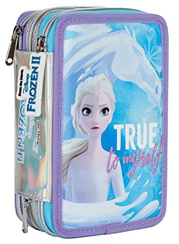 Auguri Preziosi Disney Frozen Astuccio Scuola Elementare Triplo, Astuccio Portapenne e Portamatite Pieno con 18 Matite Colorate, 18 Pennarelli e Set Cancelleria, Giochi Preziosi