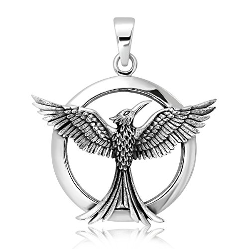 WithLoveSilver Sterling Silver 925 Celtic Phoenix Firebird Bird of Paradise Pendant