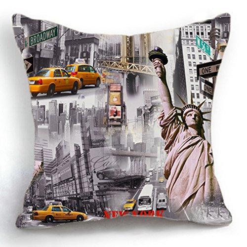 Telisha Housse de coussin style rétro avec statue de la Liberté de New York 45 cm