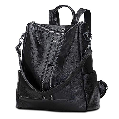 Modoker Backpack Purse for Women, Travel Leather Backpack, Convertible Shoulder Bag, School Bag with Hands Free Earphone Hole, Black