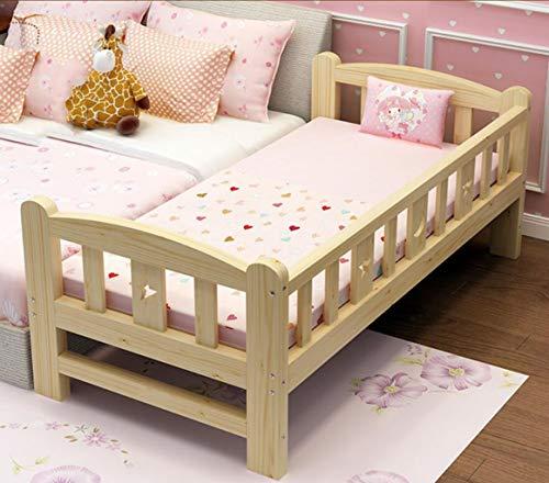 Kinderbett Massivholzbett Baby breites Bett Bett Nähte Bett mit Geländer Junge Mädchen Prinzessin Einzelbett Geben Sie Ihrem Kind EIN Komfortables Schlafklima (Color : Wood, Size : 150 * 70 * 40)