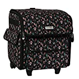 Everything Mary Serger Machine Rolling Storage Case, Black Floral - Carrying Bag for Overlock Machines - for Brother, Singer, & Juki Sergers - Organizer Tote for Sewing Thread & Supplies