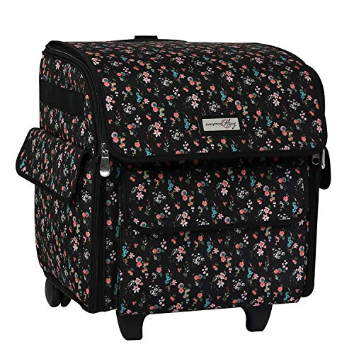 Everything Mary Collapsible Serger Machine Rolling Storage Case, Black Floral - Carrying Bag for Overlock Machines - for Brother, Singer, & Juki Sergers - Organizer Tote for Sewing Thread & Supplies