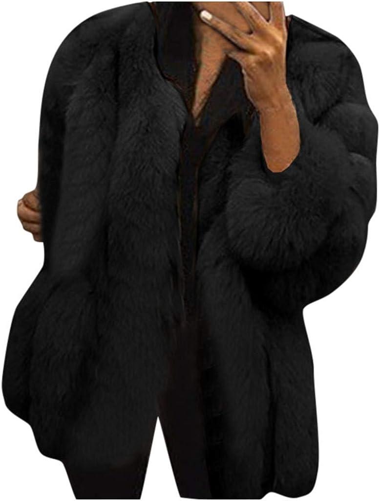 Women Plus Size Short Faux Fur Coat Winter Warm Fluffy Faux Fur Short Coat Jacket Parka Outwear