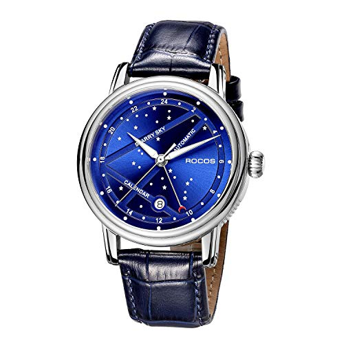 Reloj Automático para Hombre Reloj Mecánico Azul Estrella del Norte Fluorescente Luna 24 Horas Cristal de Zafiro en Cuero Genuino