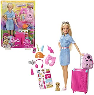 Barbie Travel Doll, Blonde, with Puppy, Opening...