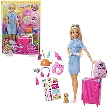 Barbie Voyage poupée blonde avec sa valise et son sac à dos, figurine de chien, autocollants et accessoires, jouet pour enfant, FWV25