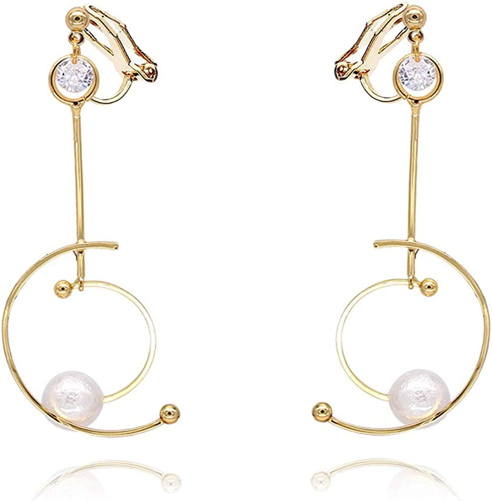 Double Circle Clip on Dangling Earrings no Pierced Soft Pads Faux Pearl Drop for Women Girls Vintage