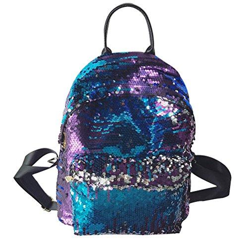 LUOEM Sequin Rucksack Fashion Shiny Bling Glitter Sequins Rucksack Casual Outdoor Sport Wandern Daypack für Mädchen Frauen (blau)