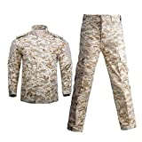 Tealun Military Uniform Jungle Camouflage Combat Airsoft Tactical Jacket Pants Clothing Set Army Suit Desert Digital M-(65-75kg)
