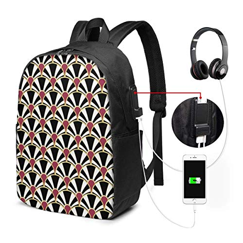 Mochila con Interfaz USB Travel Laptop Backpack with USB College School Computer Bag Gifts for Women & Men Fits Black White Gold and Garnet Art Deco Fan