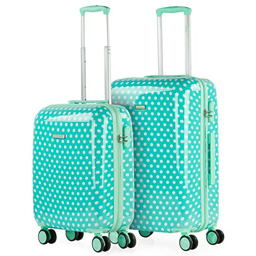 ITACA - Set of 2 Children Luggage. 4 Wheels Trolley 55/65 cm. Printed Polycarbonate. Travel Suitcases Rigid, Comfortable and Lightweight. Quality and Design. 702400, Color Mint Moles