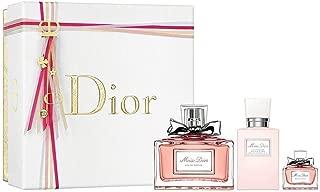 Miss Dior 3 Piece Perfum Gift Set for WOMEN (100 ml EDP Spray, 75 ml Beautifying Body Milk and 5 ml Miniature Perfum)