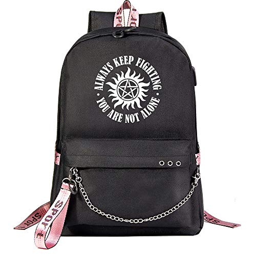 Supernatural Freizeitrucksack Hipster-Rucksack beiläufige Daypack Wasserdicht Schulranzen for Mann und Frau Unisex (Color : Black01, Size : 32 X 15 X 45cm)