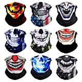 VCZUIUC Headband Clown Face, Joker Bandanas, Multi Functional Skeleton Headwear Balaclava Scarf for Outdoor Sports Skiing Running (One Size, 9PCS Skull-A)